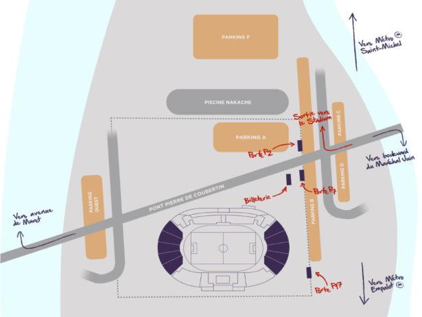 plan d'accès stadium